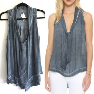 FREE PEOPLE Sleeveless Top Tie Neck Blue M
